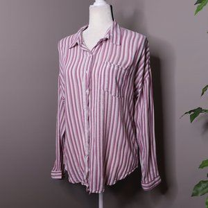 Maurices Long Sleeve Button Up Shirt Pinstriped